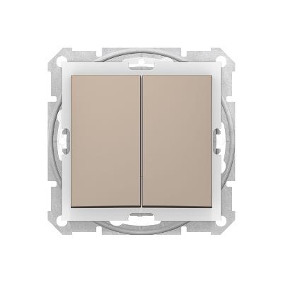 Sedna titánium 106+6 Kettős váltókapcsoló, 10AX, keret nélkül titánium SDN0600168